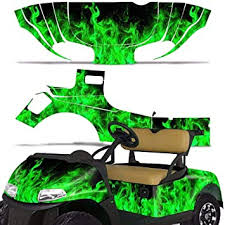 Amazon Com Wholesale Decals Golf Cart Graphics Kit Sticker Decal Compatible With E Z Go Rxv 2015 2018 Green Flames Automotive