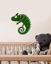 Vinyl Wall Decal Cartoon Funny Chameleon Lizard Animal Nursery Sticker Wallstickers4you