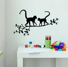 Vinyl Wall Decal Monkeys On A Branch Tree Nature Animals Jungle Tropic Wallstickers4you