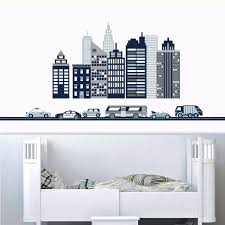 Cityscape Wall Decal Navy Gray White City Skyline With Cars And Ci