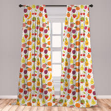 East Urban Home Ambesonne Fruits Curtains Smiling Banana Funny Mulberry Happy Apricot Peach Hearts Lemons Kids Nursery Theme Window Treatments 2 Panel Set For Living Room Bedroom Decor 56 X 63 Multicolor