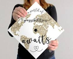 Graduation Cap Decal Download Only A World Of Possibilities Awaits White Background Graduation Cap Decoration Graduation Cap Designs