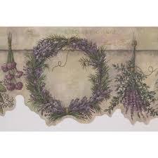 retro art purple wreath flowers hanging