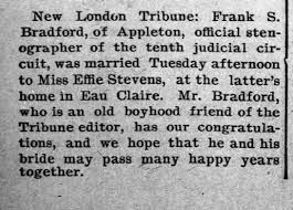 Frank marries Effie Stevens of Eau Claire, WI - Newspapers.com