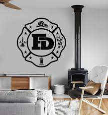 Vinyl Wall Decal Fire Department Logo For Firefighter Fireman Stickers Wallstickers4you