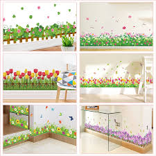 Pastoral Flowers Grass Fence With Butterfly Wall Stickers Pvc Decals Mural Art For Office Shop Bedroom Baseboard Home Decoration Wall Stickers Aliexpress