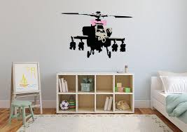 Banksy Helicopter Wall Decal Canvas Art Rocks
