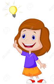 Cartoon Petite Fille Avec Grande Idée Clip Art Libres De Droits ...