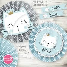 Kit Imprimible Gatito Celeste Babyshower Cumpleanos