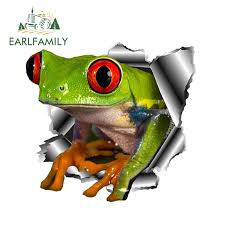 Earlfamily 13cm X 12 3cm 3d Frog Car Stickers Torn Metal Car Hood Decal Reflective Sticker Funny Animal Car Styling Accessories Car Stickers Aliexpress