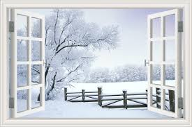 Amazon Com Alexart 3d Window View Wall Sticker Winter Snow Landscape Wallpaper Home Decor Vinyl Decal 32 X48 Home Kitchen