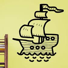Cartoon Pirate Ship Kids Wall Sticker Decal World Of Wall Stickers