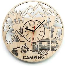 Camping Summer Camp Wood Wall Clock Original Home Decor For Kids Room Bedroom Kitchen Best Gift