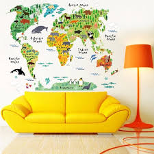 Removable Colorful Animal World Map Wall Sticker Kids Room Nursery Home Decor Wall Educational Art Decal Mural 28 7 X37 4 Walmart Com Walmart Com