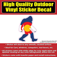 Sasquatch Yeti Big Foot Colorado Flag Vinyl Car Window Laptop Bumper S Colorado Sticker