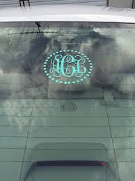 Monogram Car Decal Polka Dot Border Decal Vine Monogram Decal Preppy Custom Personalized Decal Car Window Decal Car Decal Gift
