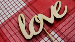 wooden letters red checd napkin