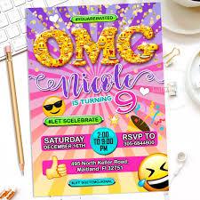 Invitacion De Cumpleanos Emoji Omg Fiesta Adolescentes 4 600