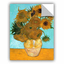 Artwall Vases With Twelve Sunflowers By Vincent Van Gogh Removable Wall Decal Wayfair