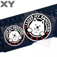 Xy Pet Animal Stickers Cute Dog Vinyl Stickers Funny Samoyed Car Front Window Reflective Waterproof Decal Car Stickers Aliexpress