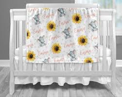 sunflower elephant baby blanket pink