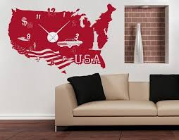 Usa Wall Decal Clock Style And Apply