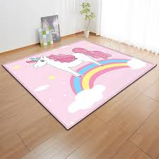 Cartoon Rainbow Unicorn Balcony Floor Carpets Girls Decor Bedside Mat Flannel Kids Play Area Rug Carpet For Modern Living Room Carpet Aliexpress