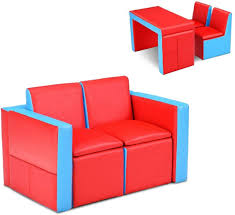 Amazon Com Honey Joy Kids Sofa 2 In 1 Table And Two Chairs Set Toddler Lounge Armrest Chair With Wooden Frame Storage Space Children Boys Girls Couch Loveseat For Bedroom And Living Room Red