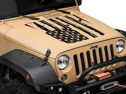 Sec10 Jeep Wrangler Distressed American Flag Hood Decal Matte Black J106242 07 18 Jeep Wrangler Jk