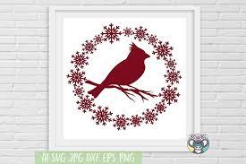Merry Christmas Svg Red Cardinal Svg Cut File Vinyl Decal 1005969 Cut Files Design Bundles