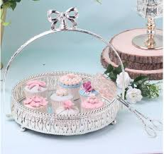 dia 27cm round silver metal cake stand