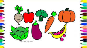 Vegetables Drawings | Coloring Pages with colored markers for Kids