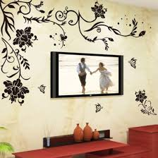 Amazon Com Wall Decal Black Flowers Leaves Vines Butterflies Wall Decal Home Sticker Paper Removable Living Room Bedroom Art Picture Diy Mural Kids Nursery Baby Gift Colorful Butterflies Arts Crafts Sewing
