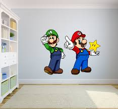 Mario And Luigi Super Mario Bros One Up Star Character Wall Art Sticker Vinyl Decal Girls Boys Kids Bedroom School House Wall Decoration Removable Vinyl Sticker Peel And Stick Size