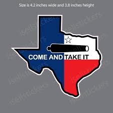 Texas State Flag Come And Take It Alamo Bumper Sticker Window Decal