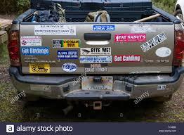 Politically Incorrect Bumper Stickers On Pickup Truck Tailgate Koke E State Park Kauai Hawaii Usa Stock Photo Alamy