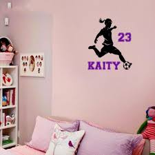Cool Personalised Name Soccer Girl Wall Decal Football Sticker Soccer Silhouette Vinyl Decals Wall Stickers Bedroon Home Decor Sticker Car Decorative Wall Art Stickersdecorative Stickers For Walls Aliexpress