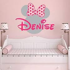Amazon Com Girl Name Wall Decal Minnie Mouse Vinyl Decals Sticker Custom Name Decal Personalized Baby Girl Name Decor Bedroom Nursery Girls Room Zx264 Handmade