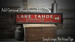 custom lake tahoe distance sign rustic