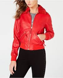 guess tani faux leather er jacket