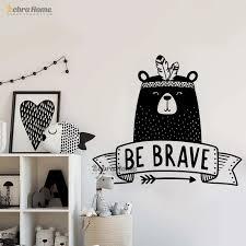 Be Brave Wall Decal Cute Tribal Bear Wall Sticker For Kids Room Bedroom Decor Nursery Bear Decal Vinyl Tattoo Sticker Jm17 002 D Sticker For Kids Room Wall Stickers For Kidswall Sticker Aliexpress
