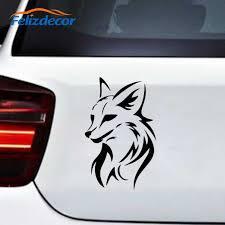 Black Silver Creative Fox Head Car Sticker Vinyl For Car Door Window Animal Decoration Self Adhesive Decal C810 Car Stickers Aliexpress