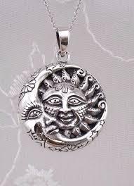 925 sterling silver sun moon pendant