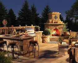 kitchen outdoor patio fireplace chimney