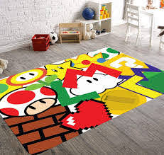 Super Mario Rug Playroom Rug Video Game Room Decor Child Be Wild
