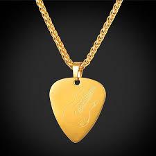 guitar pick pendant necklace gold love