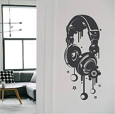 Amazon Com Byron Hoyle Headphones Vinyl Art Decal Headphone Music Decals Kids Bedroom Murals Cool Designs For Teens Room Unique Decals Headphone Wall Art A23 Home Kitchen