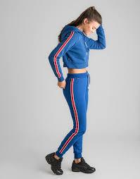 stripe fleece track pants blue