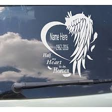 Memory Of Decal Half My Heart Is In Heaven In Loving Memory Of Custom Name Date Wall Or Window Decal 10 X 12 Walmart Com Walmart Com