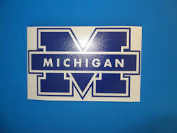 University Of Michigan Wolverines 6 M Maize Blue Vinyl Decal Truck Car Window Ebay